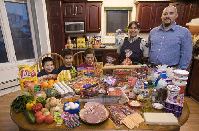 Canada. La famille Melanson. 308 euros pour deux adultes et trois enfants.