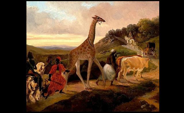 Le Passage de la girafe près d'Arnay-le-Duc, tableau de Jacques Raymond Brascassat (1827)