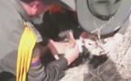Sauvetage d'un chien emporté par la boue