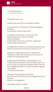 Exemple de courriel envoyé aux abeilles du du 6ème arrondissement par Corinne.
