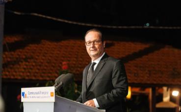 François Hollande lors de la rencontre avec la communauté française d'Hô Chi Minh Ville. Photo © Laurent Dubois. Publication autorisée par le détenteur des droits