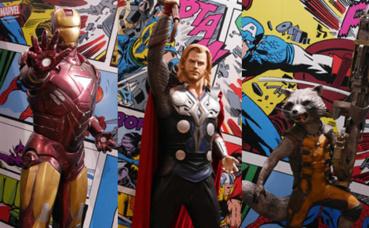 Iron Man, Thor et Rocket Raccoon. Photo © Audrey Pariès