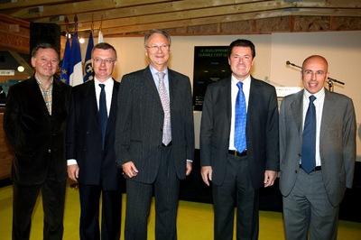 De gauche à droite sur la photo : MM. Rudy Salles, Louis Baume, Jacques Kotler, Christian Estrosi, Eric Ciotti.