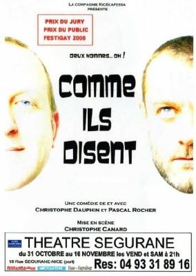 DEUX HOMMES OH ! COMME ILS DISENT... AU THEATRE SEGURANE DE NICE