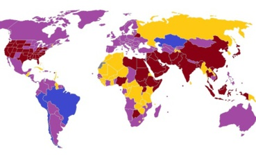 Statut de la peine de mort dans le monde en 2015. En rouge les pays où la peine capitale est légale et appliquée. Illustration (c) Titanicophile