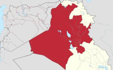En rouge, les territoires d'Irak contrôlés par l'EI en juillet 2014. Illustration (c) Adrien Coffinet.