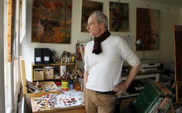 Miles Hyman dans son atelier. Photo (c) Carole Schilling
