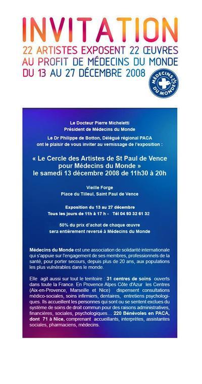 Le Cercle des Artistes de Saint Paul de Vence pour Médecins du Monde PACA