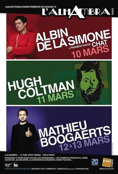 Mathieu Boogaerts, Albin de la Simone et Hugh Coltman en concert à l'Alhambra début mars