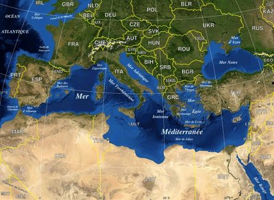 Le bassin méditerranéen (adaptation de l'image de la NASA par Sting)