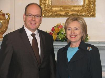 Le Prince Albert II et Hillary Clinton - Photo (c) DR