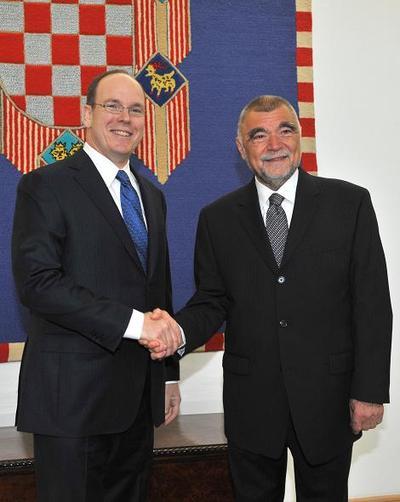 Le Prince Albert II de Monaco et Stjepan Mesic, Président de la République Croate. Photo (c) Palais Princier