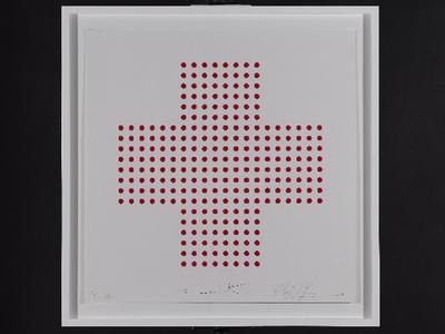Damien Hirst, Red Cross. Oeuvre cosignée par l'artiste et par SAS le Prince Albert II