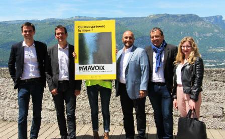 De gauche à droite: Olivier Véran, Nicolas Kada, Youssef Essabity, Jean-Damien Mermillod-Blondin, Elsa Régis. Photo (c) Anaïs Mariotti