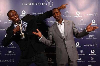 Usain Bolt and Michael Johnson (c) Laureus