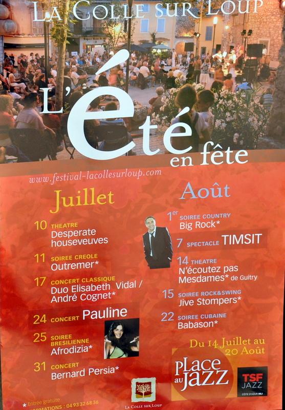 LE FESTIVAL DE LA COLLE SUR LOUP A L'HEURE D'ETE