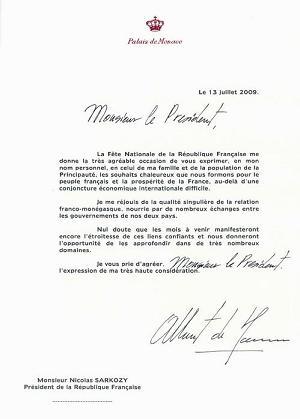 Message de SAS le Prince Albert II au Président de la République française