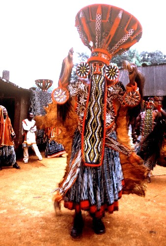 Un notable bamiléké à l'ouest du Cameroun lors d'une danse traditionnelle
