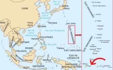 L'île de Guam sur la carte