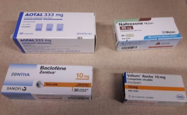 Quelques uns des médicaments pour lutter contre les addictions. photo prise par l'auteur