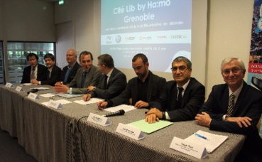Les partenaires du projet Cité Lib by Ha:mo, réunis en conférence de presse. Photo (c) Anaïs Mariotti