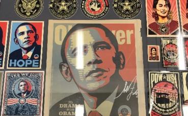 Visuels de la campagne présidentielle de Barack Obama par Shepard Fairey. Photo prise par Élisa Ludovicus