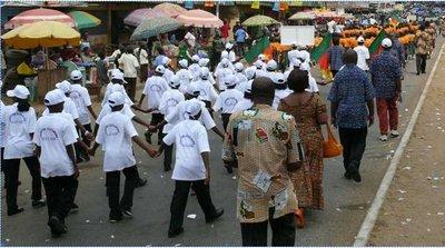 Un défilé pendant la fête de la jeunesse à Edéa (c) DR