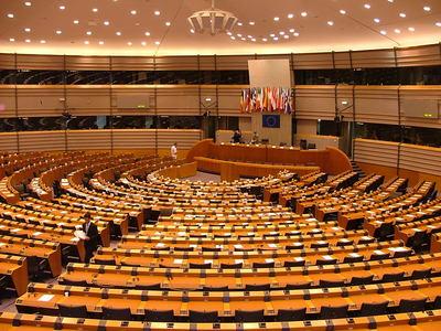 L'espace Léopold, le siège du Parlement européen à Bruxelles. Chambre principale du Parlement. © Alina Zienowicz