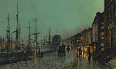 Shipping on the Clyde, 1881, de John Atkinson Grimshaw (6 septembre 1836 – 13 octobre 1893) Museo Thyssen-Bornemisza à Madrid ©