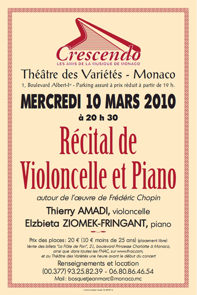 BICENTENAIRE DE LA NAISSANCE DE CHOPIN - mercredi 10 mars 2010 - 20h30 - Théâtre des Variétés - MONACO