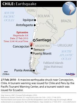 TREMBLEMENT DE TERRE ET TSUNAMI AU CHILI: Arrivée de l'aide internationale