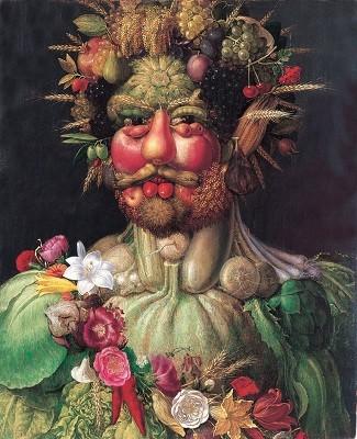 Rudolf II Rodolphe II de Habsbourg, empereur du saint Empire romain germanique, roi de Bohême et de Hongrie, représenté en Vertumnus, dieu latin des saisons, vers 1590. Image du domaine publique.