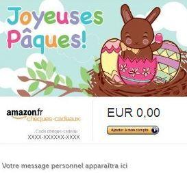 Cliquez ici pour envoyer par mail ou imprimer un chèque cadeau ou une carte cadeau Amazon personnalisable de suite