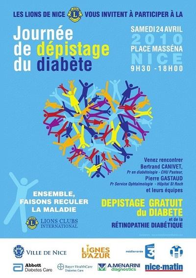 DIABETE - DEPISTAGE GRATUIT: LE LIONS CLUB SE MOBILISE CE 24 AVRIL 2010 A NICE ET MENTON