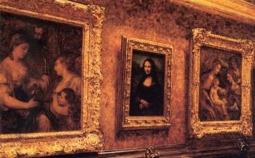 """""""Mona Lisa au Louvre"""", par Louis Béroud (1911). Image du domaine public."""