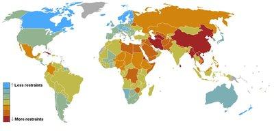 Classement mondial de la liberté de la presse, 2008. Document de Reporters sans frontières.