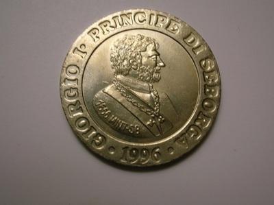 Recto d'une pièce de 15 centimes de luigino frappée en 1996 et représentant le prince de Seborga