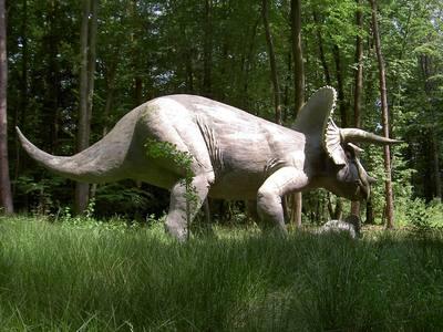Reconstruction du Triceratops au Styrassic Park de Styrie, en Autriche. Photo (c) DR