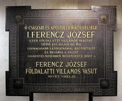 Plaque commémorative de l'inauguration du métro électrique Franz Joseph