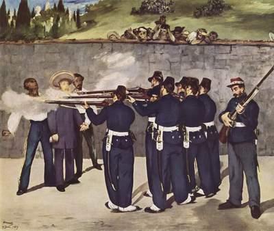 Exécution de l'empereur Maximilien du Mexique, huile sur toile d'Edouard Manet (1832-1883) au Kunsthalle de Mannheim