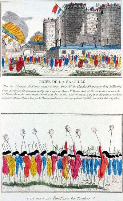 Prise de la Bastille. Eau-forte gravé à la main en 1789 représentant la prise de la Bastille. Légendes ci-contre à la fin de l'article.