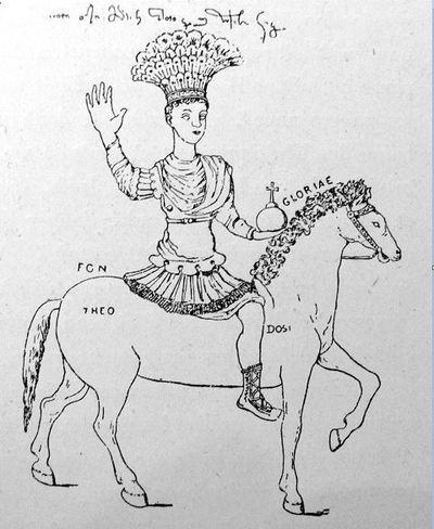 Dessin de la statue de Justinien sur l'Augustaion de Constantinople, par Nymphirios. Photographie de Charles Diehl, in Justinien et la civilisation byzantine au VIe siècle, Paris, 1901.