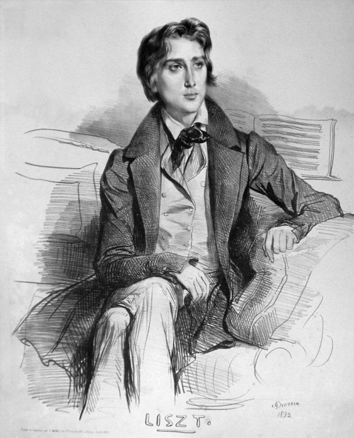Franz Liszt, lithographie d'Achille Deveria, 1832