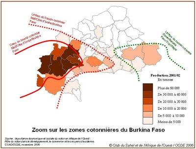 Carte cotonnière du Burkina Faso (photo OCDE)
