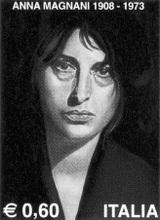 Timbre commémorant le centenaire de la naissance d' Anna Magnani, le 7 mars 2008. Elle fut l'héroïne de Bellissima.