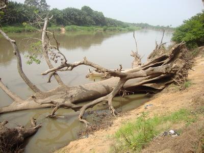 La rive du fleuve emportée par les eaux (photo Le Municipal)