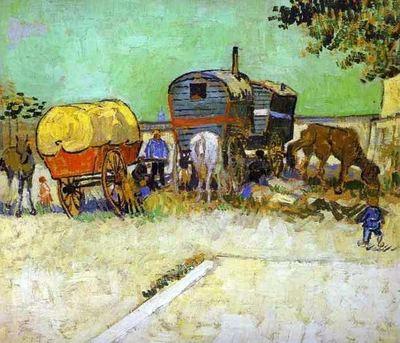 Le campement de gitans avec la caravane, par Vincent Van Gogh