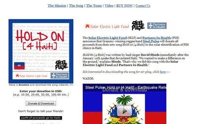 Clic up for the website of holdon4haiti