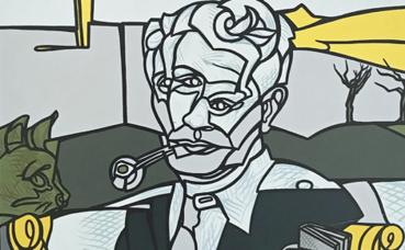 Jacques Derrida par Valerio Adami. Photo (c) Charlotte Service-Longépé