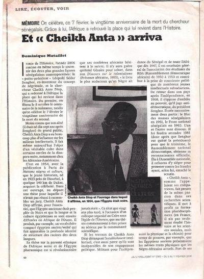 Déjà l'hebdomadaire Jeune Afrique rappelait prophétiquement l'arrivée de Cheikh Anta Diop (source JA)